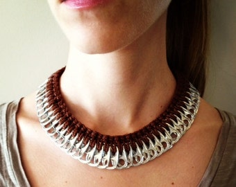 Handmade Brown Soda/Pop Pull Tab Crochet Recycled Necklace