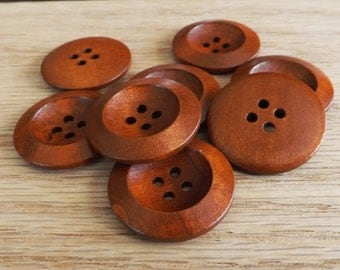 10 round wood button 30mm brown buttons 4 hole buttons Coffee buttons