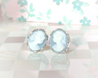 Blue Cameo Earrings | Cameo Stud Earrings | Wedgewood Blue | Sterling Silver Cameo | Silver Cameo Earring | Periwinkle | Powder Blue Cameo