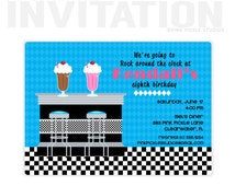 Sock Hop Invitation or a Sock Hop Party, 1950s Soda Shop Birthday Party Invitations, birthday invitations, party invitations / No.383