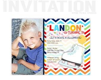 Ice Skating Birthday Invitation, Ice Skating Party, Ice Skating Invitation, Ice Skating Invite, Ice Skating Party Invitations, Skate | 442