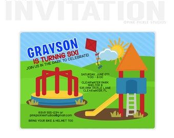 Playground Park Birthday Party Invitations, personalized thank you cards, birthday invitations, party invitations / No.535