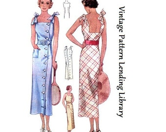 1930s Ladies Sun Dress With Shoulder Ties - Reproduction Sewing Pattern #T7746