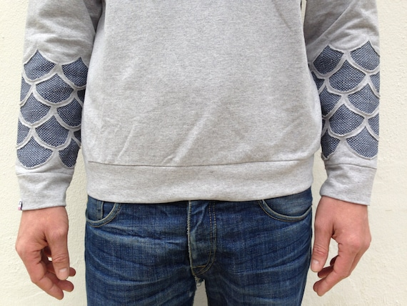 Items similar to sweat shirt with fish scales like tatooed for Fish scale shirt