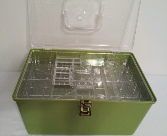 Green Sewing Box Storage Case Divided Compartments Container