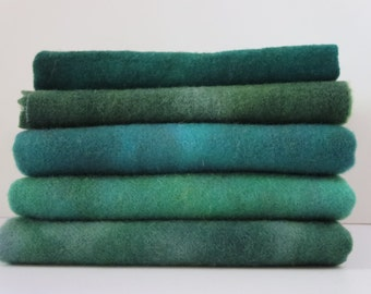 Great greens  hand dyed and felted wool for rug hooking and fiber arts