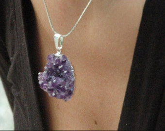 Mystic raw amethyst healing stone necklace, gemstone necklace, amethyst jewelry, Amethyst birthstone february, Statement Necklace
