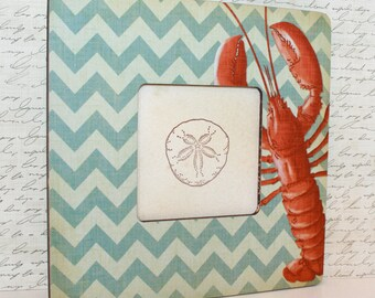 Lobster Picture frame, Coastal Blue Chevron Frame, Coastal decor, Photo frame, Decoupaged frame
