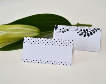 Place Cards ~ Wedding Decor ~ Black, White, Grey
