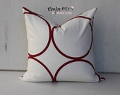 Scarlet Red - Square Pillow Cover: Circles pattern in premier South African designer fabric