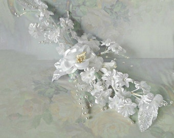 Vintage Millinery, White Satin Floral Spray, Iridescent, Beaded, Wedding, Hairpiece, Bridal
