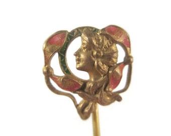 Vintage Antique Art Nouveau H. A. Co Horton Angell Company Beautiful Woman Enamel Stick Lapel Pin