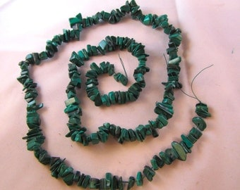 Malachite Chip Strand, natural gemstone, 32 inch double strand, large chips, bead supply, jewelry supply, Africa, healing crystal, reiki,