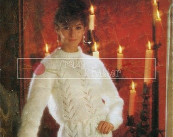 Lady's Lacy Sweater Mohair 32-42ins Sirdar 6254 Vintage Knitting Pattern PDF instant download