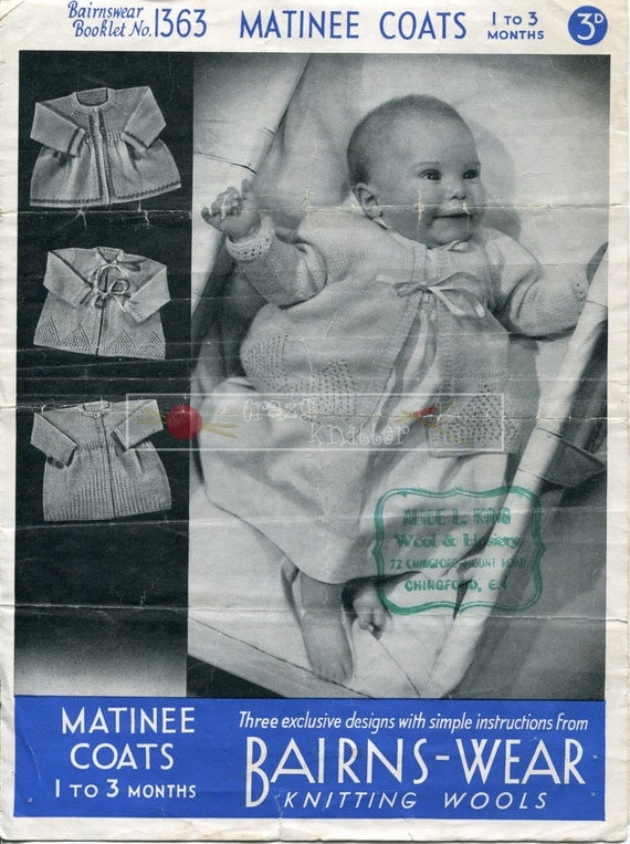 Baby Matinee Coats 4-ply 1-3 months Bairnswear 1363 Vintage Knitting Pattern PDF instant download