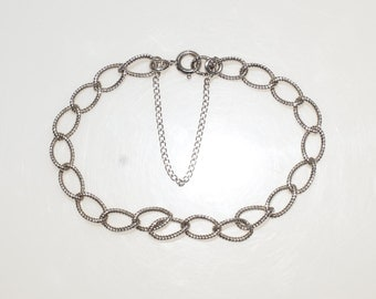 "Singed Sterling Silver 7"" Curb Link Chain Bracelet for your Charms 925"