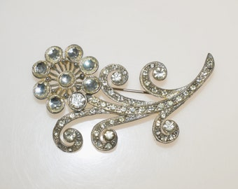 "Paste Stone Rhinestone White Pot Metal Zinc 3.25"" Posy Flower Bouquet Brooch Pin"