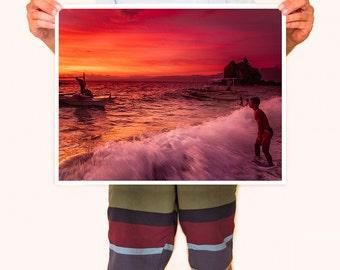 Apo Island Sunset - Island Beach Sunset Photography Collection - Orange & Red wall decor - 16 x 20 inch Photo Print
