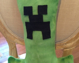 Minecraft Inspired Creeper Green Fleece Pillow/ Stuffed Animal, 16H x 12L