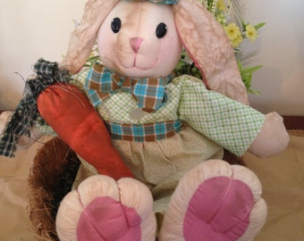 Primitive Easter Bunny Doll Holding a Carrot