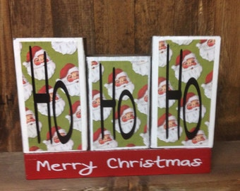 Christmas wood blocks- HoHoHo Merry Christmas blocks