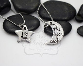 """Hand Stamped """"I Love You To The Moon And Back"""" Necklace Set"""