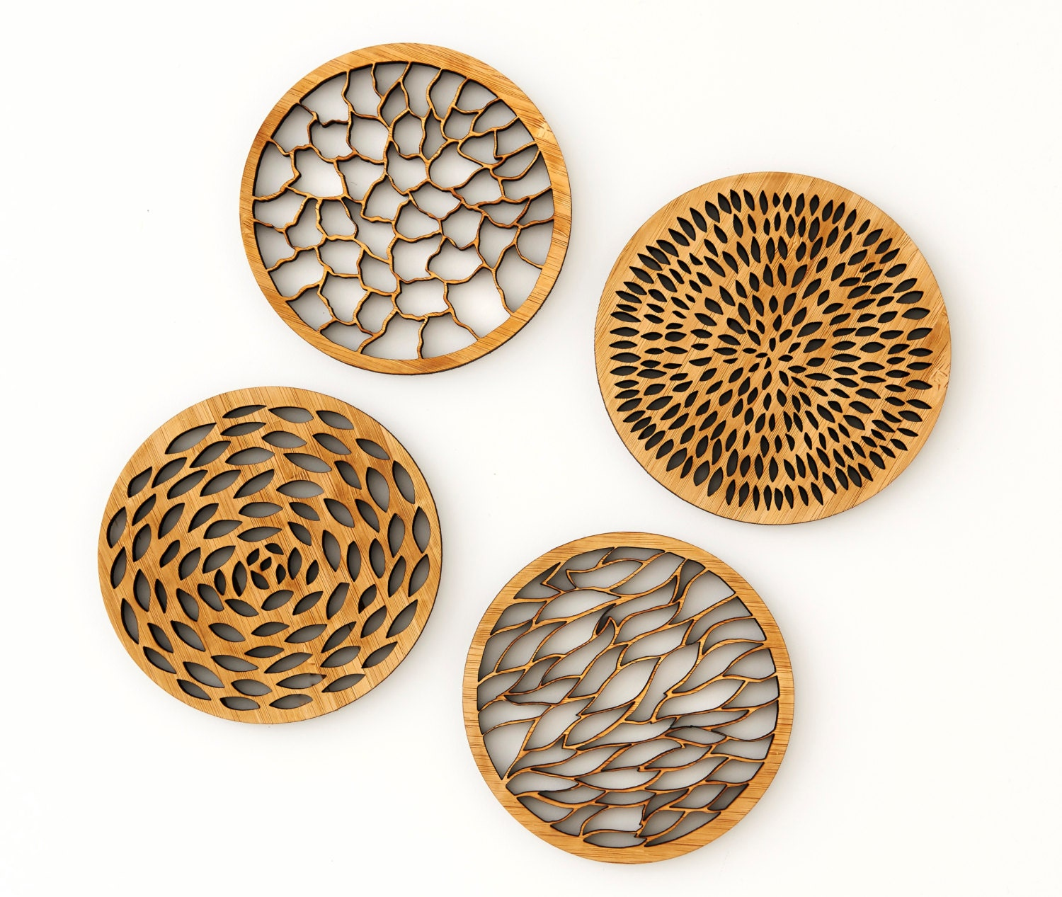 Abstract Bamboo Laser Cut Coasters Set Of 4