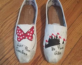 White Minnie Mouse Disney Custom Toms Shoes MAGIC KINGDOM toms [disney toms]