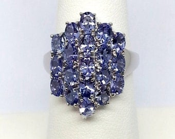 2.95ctw Tanzanite Solid 10K White Gold Ring Size 7
