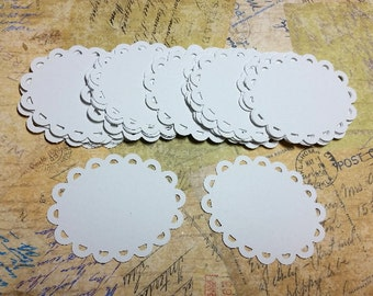 Pretty White Scalloped Edged Tags. 110lb Cardstock.                          #OP-22