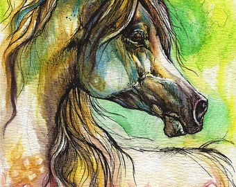 Set of three fine art greeting cards with rainbow horses