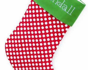 RED Polka Dots CHRISTMAS STOCKING - Machine Embroidered - Monogramed - Personalized