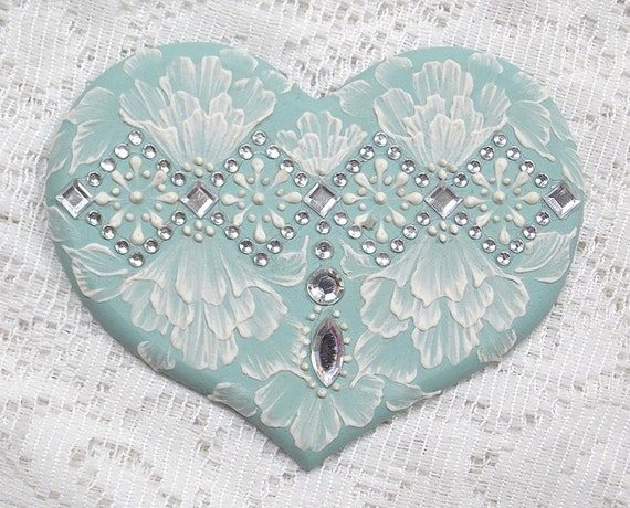 Hand Painted Soft Turquoise MUD Roses Heart Cookie with Rhinestone Bling 27