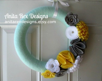 Mint Yellow Grey Yarn Wreath