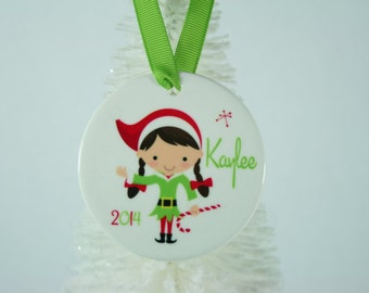 Personalized Christmas Ornament with Little Girl Elf
