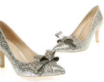 Glitter Mid Heel Stiletto Corset Luxury Gold Silver Party Bow front Pump sizes 2,3,4,5,6,7
