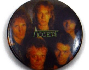 Vintage 80s Accept Heavy Metal Pinback Button Pin Badge