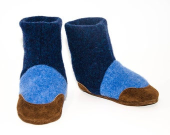 Baby Boy Shoes, Wool Toddler Slippers, Leather Soles.  Sizes: 6-18M & 12-24M