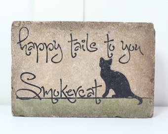 Personalized Cat Memorial. Happy Tails To You. Cat Memorial. Rustic Garden CAT Decor Outdoor Sign Quote 9x6. Garden Stone. Cat Sympathy Gift