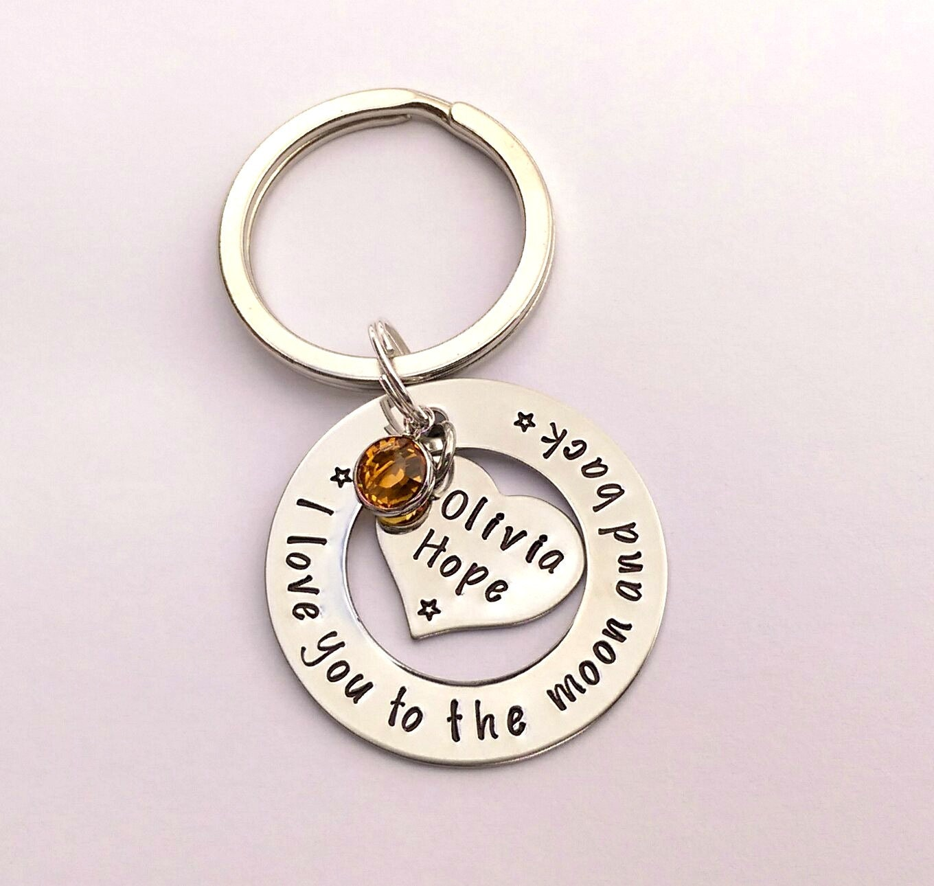 Hand stamped personalised I love you to the moon and back keyring keychain - personalised gift present for mum mom mummy - mothers day gift