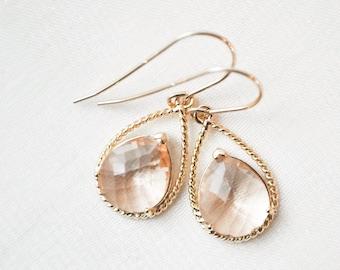 Bridesmaid Earrings, Golden Peach Earrings, Gold Earrings, Bridesmaid Jewelry