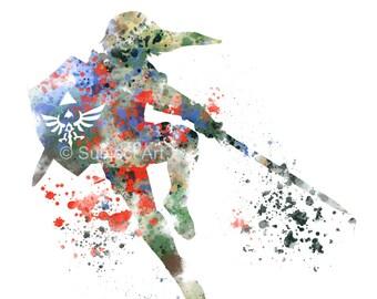 Link, Legend of Zelda ART PRINT illustration, Gaming, Home Decor, Wall Art