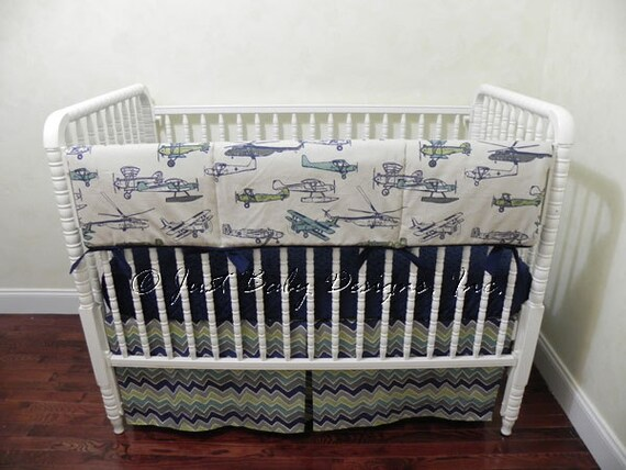 Airplane baby crib bedding set taggart crib rail cover boy - Airplane baby bedding sets ...