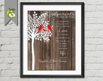 Godparents tree Gift for Godparents, personalised, custom printable, thank you gift, christening gift, baptism gift, children, gift