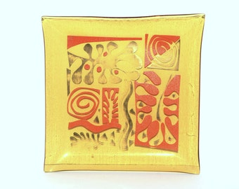 Vintage Gold Glass Square Plates with Matisse Motif