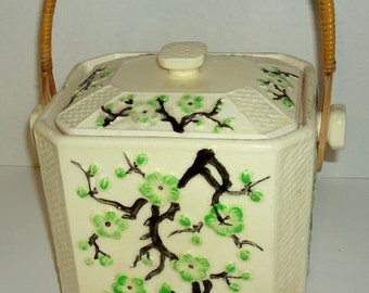 SOLD Moriyama Cherry Blossom Biscuit Jar with Lid and Reed Handle 1920's Vintage