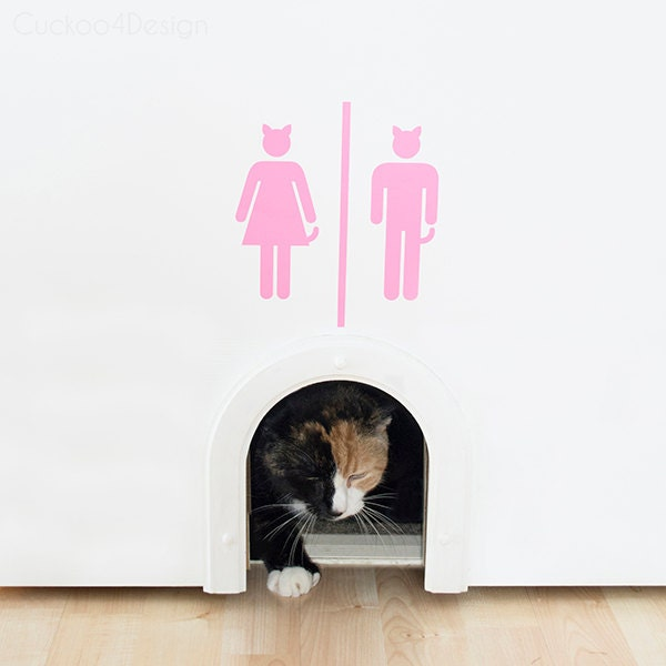 Login Funny Toilet Sign Door Sticker Custom Name Door: Wall Vinyl Cat Toilet / Litter Box Sign Many Different Colors