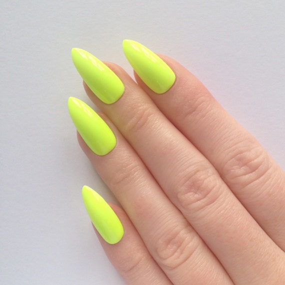 Neon yellow stiletto nails Nail designs Nail by ...