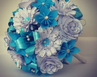 Paper Flowers Origami Bouquet Wedding Bridal Alternative Roses Gerbera Lily Kusudama Music Pages White Turquoise