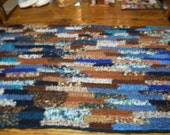 Hand Crocheted Rag Rug Mixture of Blues and Browns  2' X 3'